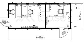 20-fots Kontorsbod : Manskapsbod : 2 separata kontor  Art. 45820