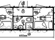 20-fots Sovbod : Kontorsbod : 2 separata rum : Dusch : WC :  Art. 46220