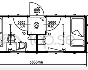20-fots Sovbod : Kontorsbod : 2 separata rum : Förrum :  Art. 46320