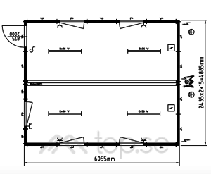 20x2 fot Dubbel Kontorsbod : Kontorscontainer : Manskapsbod  Art. 45220